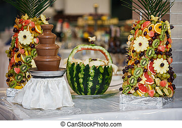 The fruits on the wedding buffet table