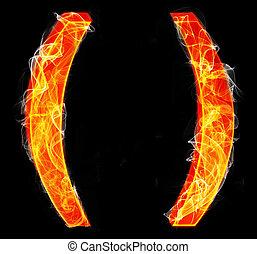 Brackets as burning punctuation mark