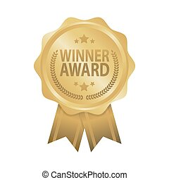 Winner award golden badge ribbon vector illustration