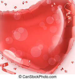 Happy Valentin Day. Red heart toy balloon vector background