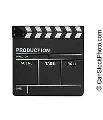 Clapperboard isolated - Open clapperboard isolated on white...