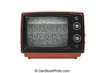 Vintage TV with static isolated - Retro television set...