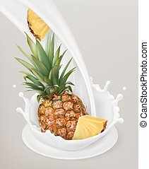 Milk splash and pineapple. 3d vector object. Natural dairy...