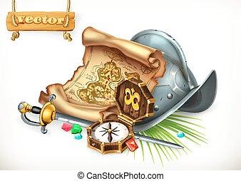 Old treasure map and conquistador helmet. Adventure 3d...