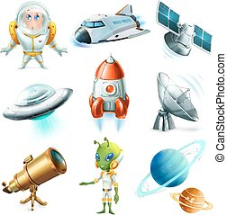 Space, spaceship, planet, spaceman, ufo and satellite. 3d...