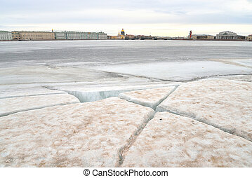 View of Frozen Neva River in St.Petersburg. - View of Frozen...