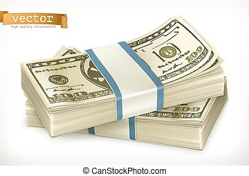 Stack of money. 3d vector icon