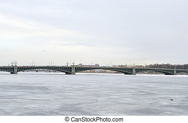 Trinity Bridge and Neva River. - Trinity Bridge and Neva...