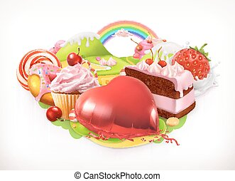 Sweet heart. Confectionery and desserts, 3d vector...