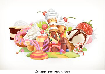 Sweet shop. Confectionery and desserts, 3d vector...