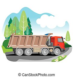 Drawing red tipper dump truck in summer background, vector...
