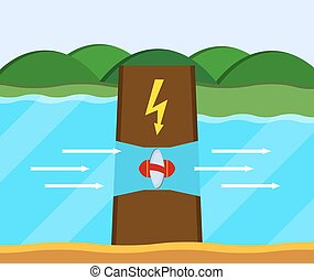 Tidal power station. Flat style cartoon tidal dam....
