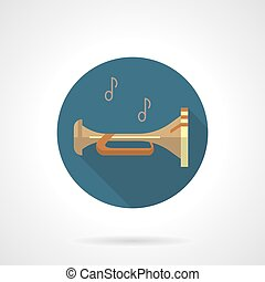 Brass wind instruments. Bugle round vector icon - Abstract...