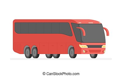 Corner view bus on the road vector illustration