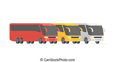 Corner view three bus on the road vector illustration.