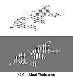 Isometric World map dotted effect vector illustration