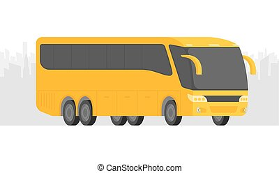 Corner view bus on the road vector illustration with city background