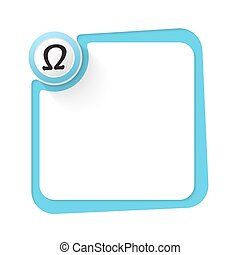 Blue frame with golden circle and omega symbol