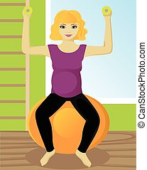 Pregnant woman on fitball in gym - Pregnant woman on fitball...