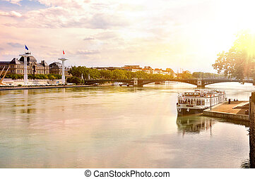 General view of the Rhone river at sunset Lyon France