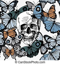 Skull with butterflies - Vector illustration of skull...