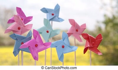 Colorful pinwheels toy 1920 x 1080p HD video