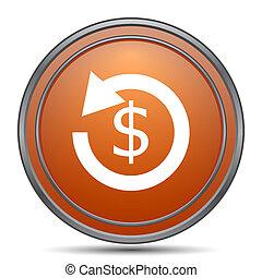 Refund icon. Orange internet button on white background.