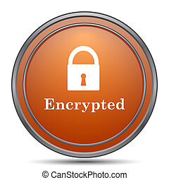 Encrypted icon. Orange internet button on white background.