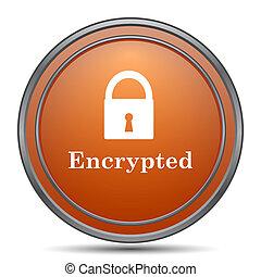 Encrypted icon. Orange internet button on white background.