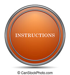 Instructions icon. Orange internet button on white...