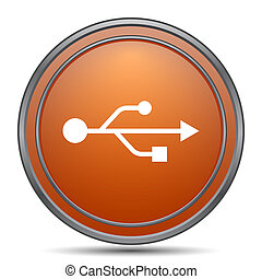 USB icon. Orange internet button on white background.
