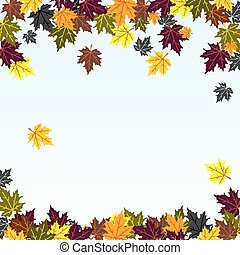 leaf fall - vector background image of the falling of autumn...