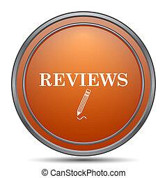 Reviews icon. Orange internet button on white background.