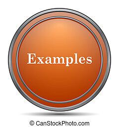 Examples icon. Orange internet button on white background.
