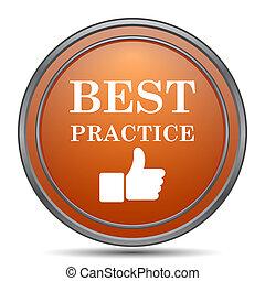 Best practice icon. Orange internet button on white...