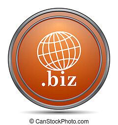 .biz icon. Orange internet button on white background.