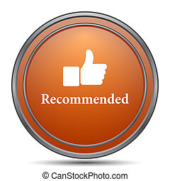 Recommended icon. Orange internet button on white...