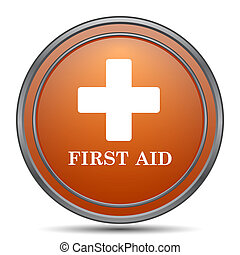 First aid icon. Orange internet button on white background.
