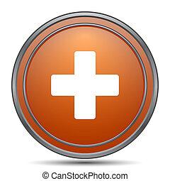 Medical cross icon. Orange internet button on white...
