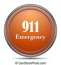 911 Emergency icon. Orange internet button on white...