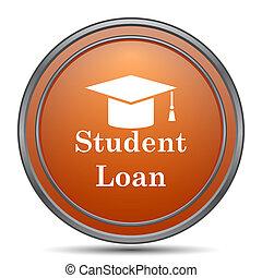 Student loan icon. Orange internet button on white...