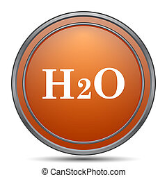 H2O icon. Orange internet button on white background.