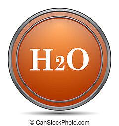 H2O icon. Orange internet button on white background.