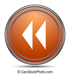 Rewind icon. Orange internet button on white background.