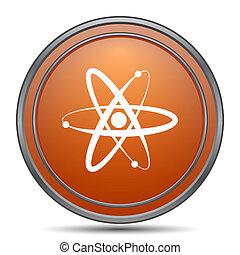 Atoms icon. Orange internet button on white background.