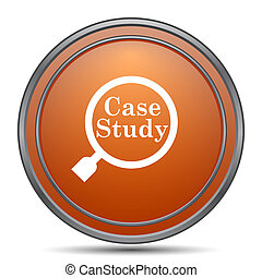 Case study icon. Orange internet button on white background.