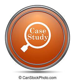 Case study icon. Orange internet button on white background.