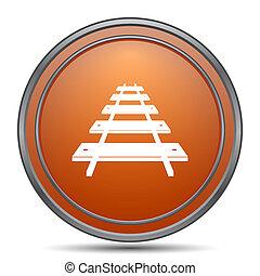 Rail road icon. Orange internet button on white background.