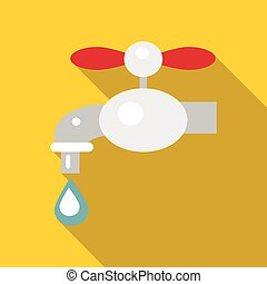 Water tap icon, flat style - Water tap icon. Flat...