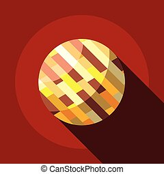 Brown planet icon, flat style - Brown planet icon. Flat...